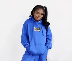 "MissDarcei ""Potato Gang"" Blue Pullover Hoodie Hoodies, Sweatshirts, Potato, Graphic Sweatshirt, Pullover, Sweaters, Blue, Fashion, Moda"