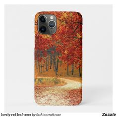 lovely red leaf trees Case-Mate iPhone case