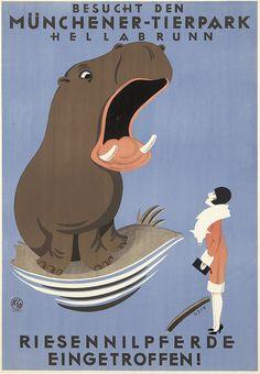 Besucht den Münchener Tierpark Hellabraunn. Riesennilpferde eingetroffen! (visit Munich zoo Hellabrunn. Giant hippos!) Artist: JOSEPH NIKOLAUS GEIS (1892-1952)