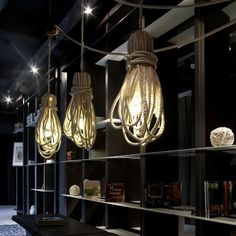 Hanging rope lamps by Argentinian designer, Silvina Descole. Made from up-cycled materials found in the La Boca shipyard in Bueno Aires.
