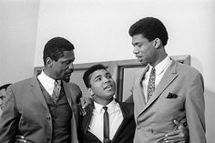 """soulbrotherv2: """" Image of Bill Russell and Kareem Abdul Jabbar with Muhammad Ali  They stood with Muhammad during his refusal of the draft, several Black athlete stars of that day did. Jim Brown was another. Thank you all for speaking up for our..."""