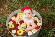 Summer Baby Pictures, 6 Month Baby Picture Ideas, Milk Bath Photography, Baby Girl Photography, City Photography, Baby Milk Bath, Milk Bath Photos, September Baby, Strawberry Baby