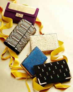 These luxurious bags bring elegance and shine--and your lipstick and phone.  1. Mirror Metallic Clutch, $42.80; MakeMeChic.com 2. Big Buddha Kaykay Bag, $75; LordandTaylor.com 3. Twinkle, Twinkle Gold Glitter Clutch, $39; Lulus.com 4. Amor Perforated Clutch, $42; Galian.com 5. Lois Clutch, $52; Nordstrom.com  - WomansDay.com