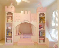 Princess Dream Land, Your little one can feel like a Princess with these unique designs.  Hours of fun and play.  See more at our new site www.neverlandthemebeds.com, Grand Princess Castle - Our most popular design with a den like opening on the bottom for the bedding area and playloft up top.  Nice shelving in the front turret towers as well as a sldie to get down from the top bunk.   , Girls Rooms Design