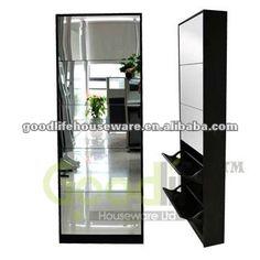 Mirror Shoe Storage Cabinet Rack Designs Wood