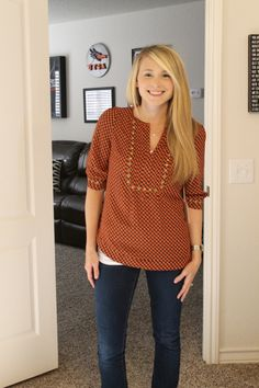 Moni Chain Print Stud Detail Blouse Love the Fall colors in this blouse!