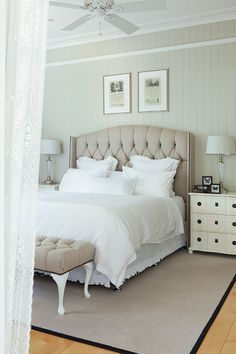 Luxurious Hamptons bedroom with a neutral color palette
