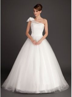 Ball-Gown One-Shoulder Sweep Train Satin Tulle Wedding Dress With Ruffle Bow(s) (002015487) - JJsHouse