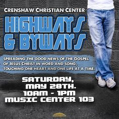 CCC Highways & Byways will be going out to minister the Good News of the Gospel of Jesus Christ, winning souls for the Kingdom!! Join Highways & Byways THIS Saturday morning, May 28th at 10:00AM in Music Center Room 103. For more information contact the church office at 323.758.3777 ext. 4148.