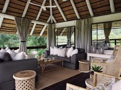 Londolozi Private Game Reserve and Camps, Sabi Sand, South Africa Outdoor Seating, Outdoor Decor, Outdoor Rooms, Outdoor Living, Outdoor Camping, Indoor Outdoor, African Home Decor, White Cushions, Elements Of Style