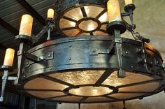 Detail of custom hand forged iron chandelier.