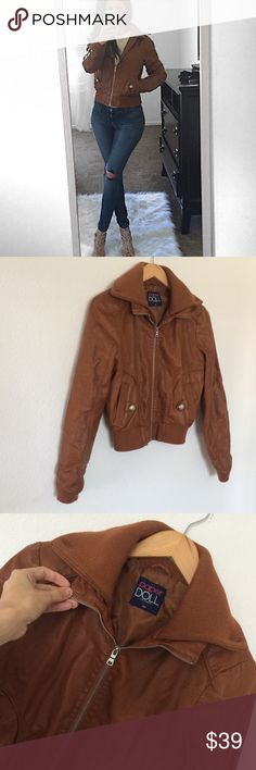 "Vegan Leather Moto Jacket Excellent condition Vegan Leather Moto Jacket size M. So versatile. This for sure will keep you warm. 2 front pockets with button detail (see photos). Bust:17.5"", length from shoulders: 21.5"". Ribbed hem and cuffs. paper doll Jackets & Coats Utility Jackets"