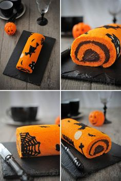 Halloween Swiss roll cake Source by livelyheidi Halloween Desserts, Halloween Cupcakes, Comida De Halloween Ideas, Halloween Torte, Halloween Backen, Pasteles Halloween, Bolo Halloween, Bricolage Halloween, Hallowen Food