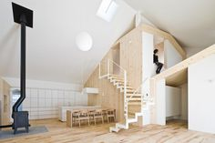 We love the flavor and feel of Japanese architecture. This wooden house design by Japanese architect Yoshichika Takagi is one of a kind here in Sapporo, Japan, with a timber. Interior Minimalista, Interior Architecture, Interior And Exterior, Japanese Architecture, Dezeen Architecture, Wooden House Design, House Ideas, Box Houses, Tiny Houses