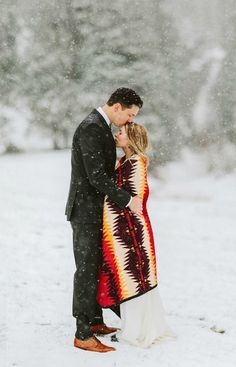 There's something truly magical about a snowy outdoor winter wedding.