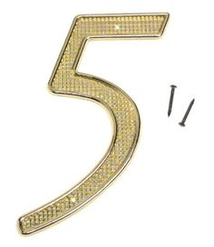 """House Numbers Finish: Brass, Numbers: 5 by Stanley. $8.57. Signs & Address Numbers. Stanley Tools. 579941. From the Manufacturer                Brass House no. 5, measure a full 4 inches for greater visibility, made of non ferrous, rust proof metal, and styled in a modern script. Includes fastening pins.                                    Product Description                579941 Finish: Brass, Numbers: 5 Features: -4"""" Zinc house numbers. -Rust resistant. -Ideal for..."""
