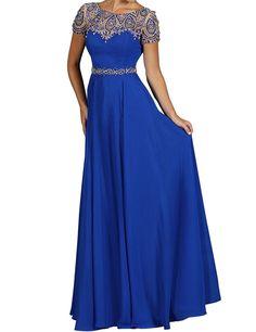 JAEDEN Damen A Linie Kurzarm Ballkleider Lang Chiffon Festkleid Abendkleid Blau EUR38