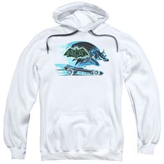 BEWARE THE BATMAN/WITH BATMOBILE-ADULT PULL-OVER HOODIE-WHITE