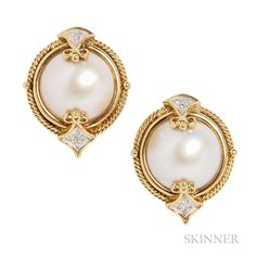 Gold, Mabe Pearl, and Diamond Earclips Pearl Jewelry, Diamond Jewelry, Gold Jewelry, Jewelery, Diamond Earrings, Fine Jewelry, Ring Earrings, Pearl Earrings, Five Golden Rings