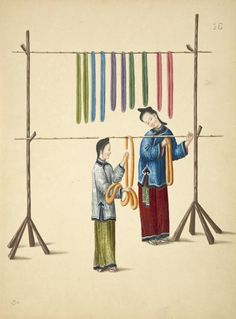 [Two women hanging dyed skeins on wood and bamboo racks.]  One from a series of Chinese paintings depicting life and culture. undated