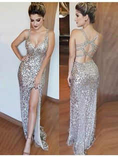 Sheath V-neck Open Back Split Floor-Length Silver Sequined Prom Dress, cheap sparkling party dresses, prom dresses