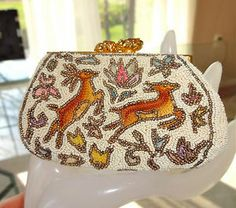 Antique French Beaded Deer Figural Embroidered Tambour Coin Purse | eBay