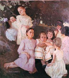 Felice Casorati,  Le bambine,  1908 - 1909 circa,  olio su tela,  cm 130 x 115,  Galleria d'Arte Moderna Achille Forti