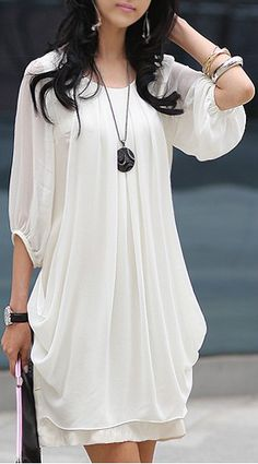 Chiffon Scoop Neck 3/4 Sleeves Fairy Style Solid Color Dress