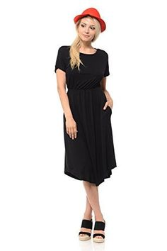 Women's Short Sleeve Flare Midi Dress with Pockets in Solid and Striped