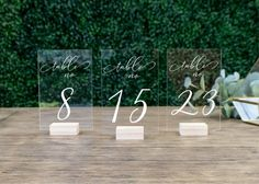 Our acrylic table numbers are a beautiful way to welcome your guests to their table. Engraved on sturdy acrylic for a glass-like effect. Outdoor Wedding Tables, Outdoor Wedding Decorations, Table Wedding, Rustic Table Numbers, Wedding Table Numbers, Wedding Signage, Rustic Wedding, Wedding Ideas, Diy Wedding