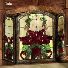 stained glass fireplace screens Stained glass fireplace screen