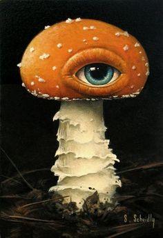 Shrooming by Scott Scheidly kinda creepy Fantasy Kunst, Fantasy Art, Psy Art, Mushroom Art, Brown Mushroom, Alphonse Mucha, Weird Art, Psychedelic Art, Surreal Art