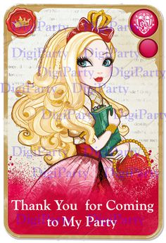 Apple White EVER AFTER HIGH Birthday Invitation and by DigiParty