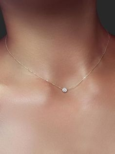 Delicate Solitaire .20 ct Crystal Necklace - Gold or Silver