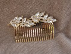 Rhinestone Gold Metal Hair Comb /  Bridal Hair Comb / by lyndahats, $18.00