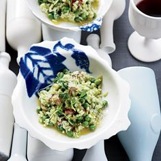 Pea-and-Bacon Risotto | Pair chef James Tracey's pea-bacon risotto with a Pinot Noir from Oregon.