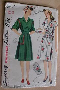 "Complete 1940s Simplicity 2158 House Dress Robe Sewing Pattern sz12 Wrap Around | eBay This pattern is basically a knock-off of Claire McCardell's wildly popular wartime ""popover dress."""