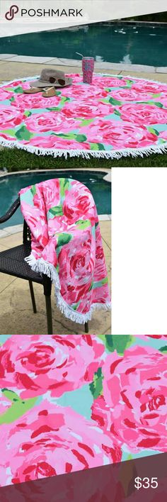 Lilly Pulitzer inspired round beach towel 60 in. Lilly Pulitzer rose pattern inspired 60 inch round beach towel with white fringe trim. Accessories Scarves & Wraps
