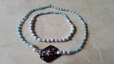Blue and pink bead necklace and bracelet