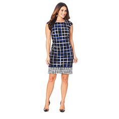 Madison Leigh Cap Sleeve Square Print Dress