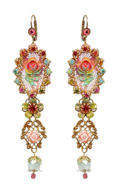 Michal Negrin Roses Crystal Bell Hook Earrings | Michal Negrin