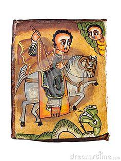 Ethiopian Saint George by Ivan Vander Biesen, via Dreamstime Perseus And Medusa, Patron Saint Of England, Greek Soldier, Saint George And The Dragon, Roman Gods, Clash Of The Titans, Dragon Slayer, Orthodox Icons, Patron Saints
