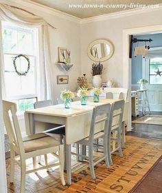 Cottage style decorating is easy to add to your home with simple items like flowers cut fresh from the garden and white flea market finds. Cottage Style Decor, Country Decor, My Living Room, Living Room Decor, Country Dining Rooms, Country Living, Drop Leaf Table, Home And Deco, Dining Area