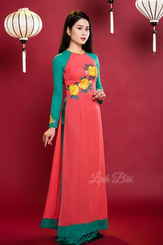 Kiểu dáng: Áo dài truyền thống ||Màu sắc: Cam - Xanh ||Chất liệu: Lụa cao cấp