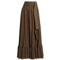 See By Chloé Waist-tie gathered gauze maxi skirt ($265) ❤ liked on Polyvore featuring light brown and see by chloé