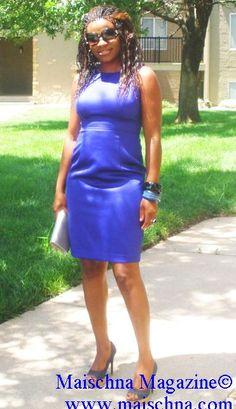 CEO of Maischna Magazine in her blue body toned Etui dress and prada sun glasses. https://www.facebook.com/maischna.magazine