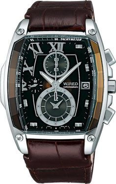 Seiko wired mens watch REFLECTION reflection chronograph brown leather belt - Purchase now to accumulate reedemable points! Brown Leather Belt, Leather Belts, Cow Leather, Men's Watches, Vintage Watches For Men, Unique Watches, Casio Watch, Male Models, Chronograph