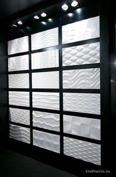 Three dimensional tile for wall Textured Wall Panels, 3d Wall Panels, Tile Showroom, Showroom Design, 3d Wandplatten, 3d Wall Tiles, 3d Tiles Bathroom, Bathroom Ideas, 3d Wall Decor