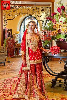 Image by Global Photography Pakistani Couture, Indian Couture, Pakistani Bridal, Punjabi Bride, Indian Inspired Fashion, Indian Bridal Fashion, Bridal Wedding Dresses, Bridal Style, Bridal Lenghas