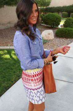 Nicole Miller Artelier Ikat Skirt, Chambray Blouse, Wedge Heels, eBay Designer Collective 8